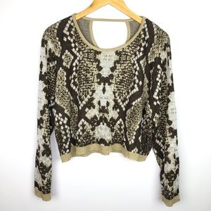 NWT Snakeskin Print Long Sleeve Crop Sweater
